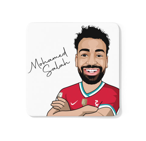 Mohamed Salah - Liverpool FC Caricature LFC Coaster (White Background)
