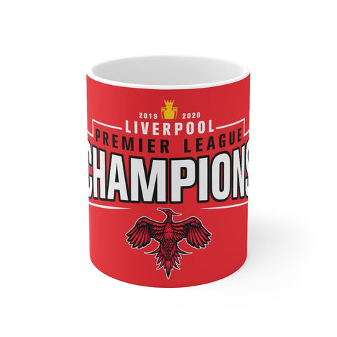 Champions 19/20 Mug (Black & White Print on Red)