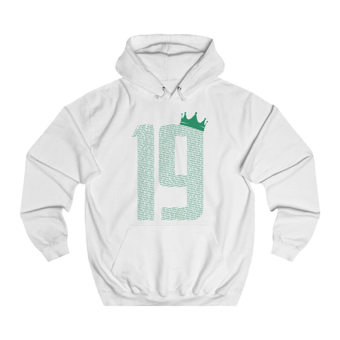 19 Crown - Green Font - Unisex College Hoodie