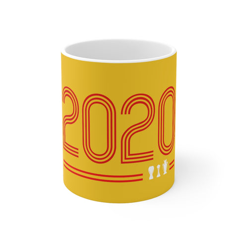 2020 Retro - Champions 19/20 Mug (Red & White Print on Yellow)