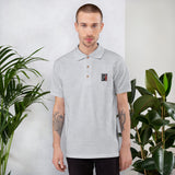 Calm As You Like - Embroidered Polo Shirt - Black & Red Design