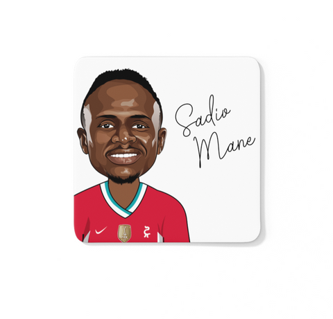 Sadio Mane - Liverpool FC Caricature LFC Coaster (White Background)
