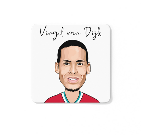 Virgil van Dijk - Liverpool FC Caricature LFC Coaster (White Background)