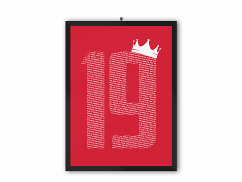 19 Crown - Champions 19/20 Print (White Text) - A3, A4 or A5
