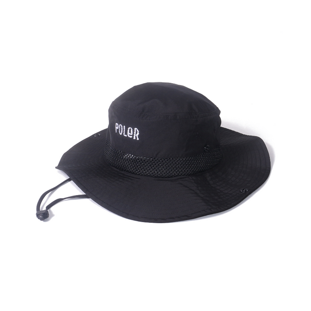 Furry Font 2way Drawcord Long Brim Hat-Black