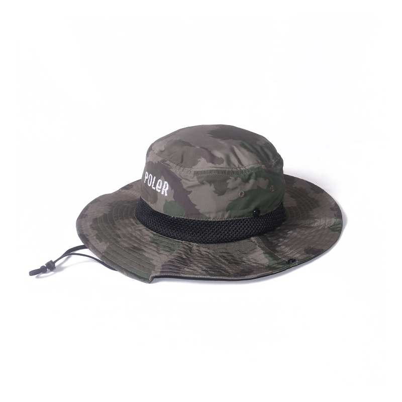 Poler Furry Font 2way Drawcord Long Brim Hat Olive Furry Camo