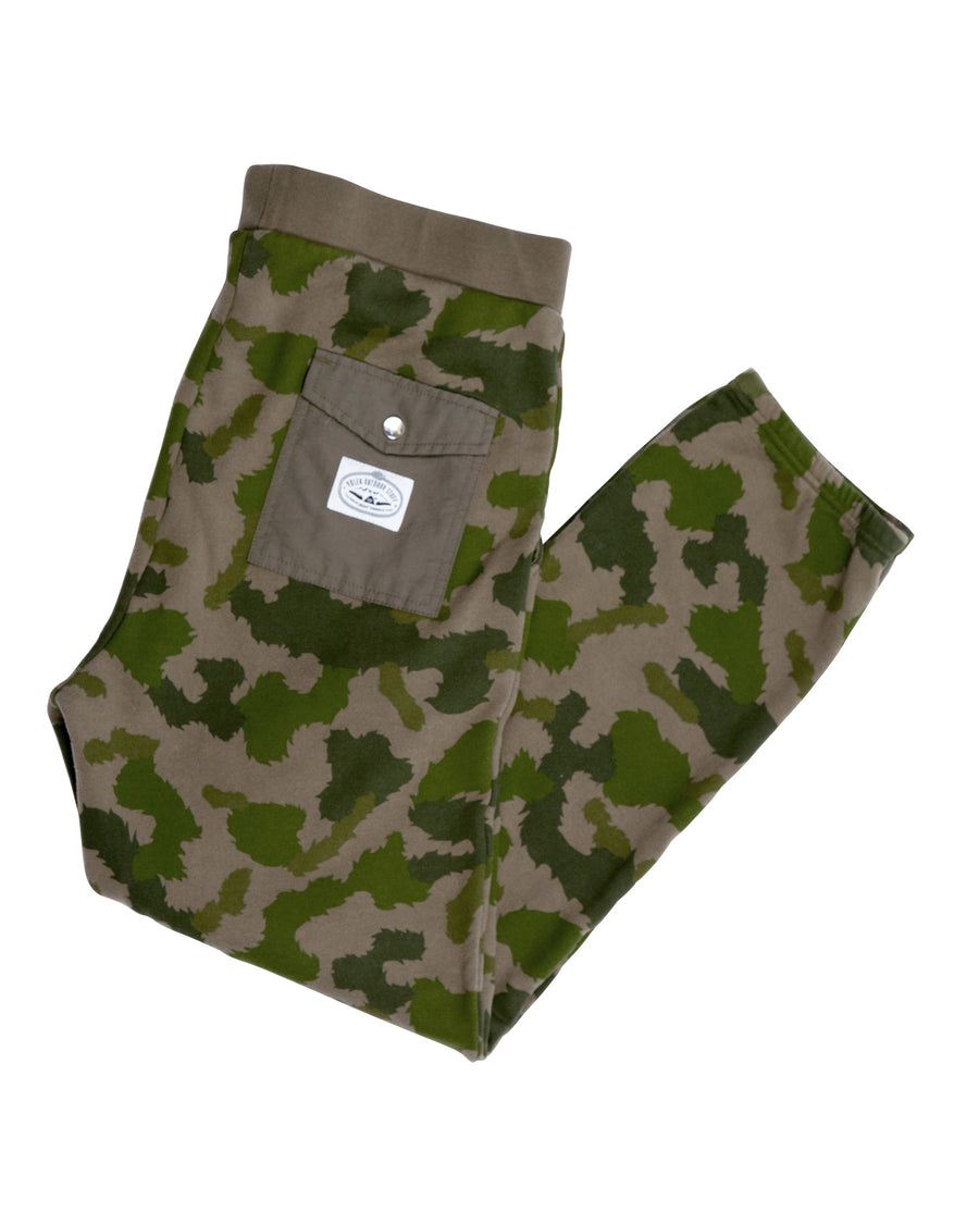 MEN BAG IT FLEECE PANTS GREEN FURRY CAMO-LAST ONE!