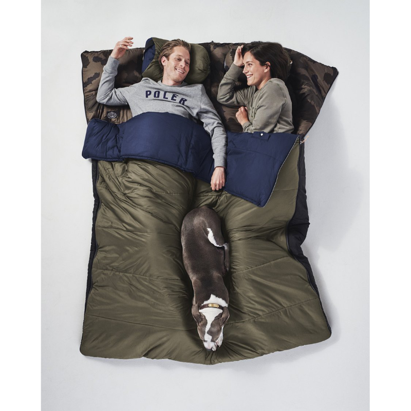 Poler Reversible Sleeping Sack Navy and Olive