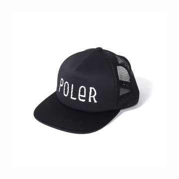 Furry Font Trucker Mesh Cap - Black