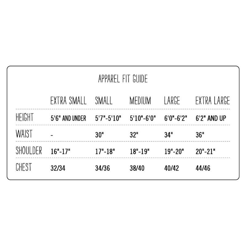 Poler Apparel Size Guide