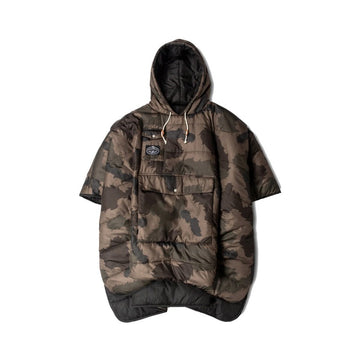 Poler Reversible Poncho Olive Furry Camo and Black
