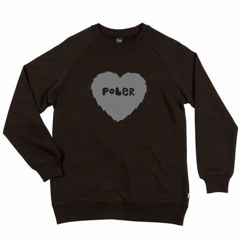 WOMENS CREWNECK FURRY HEART - BLACK