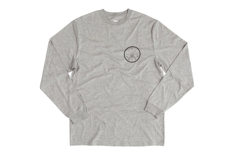 Golden Circle Long Sleeve Tee-Gray Heather