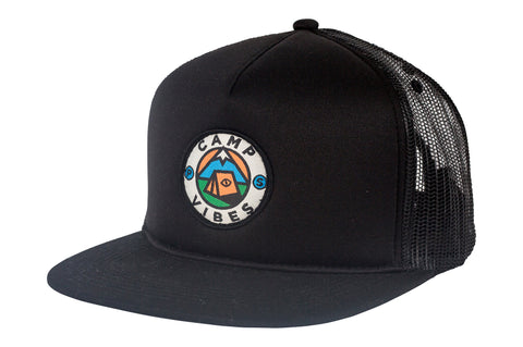 Camp Vibes Trucker-Black
