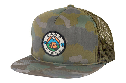 Camp Vibes Trucker-Green Furry Camo