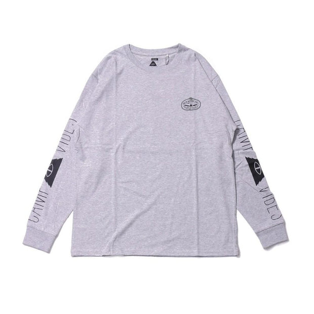 Camp Vibes Long Sleeve Tee-Heather Gray