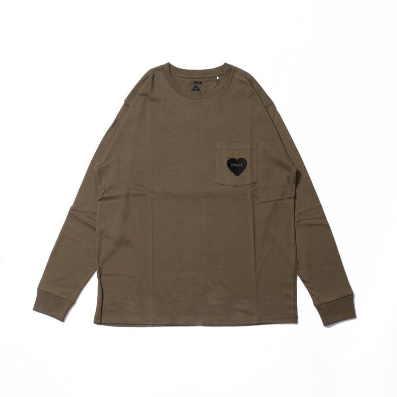 Poler Furry Heart Pocket Long Sleeve Tee Olive