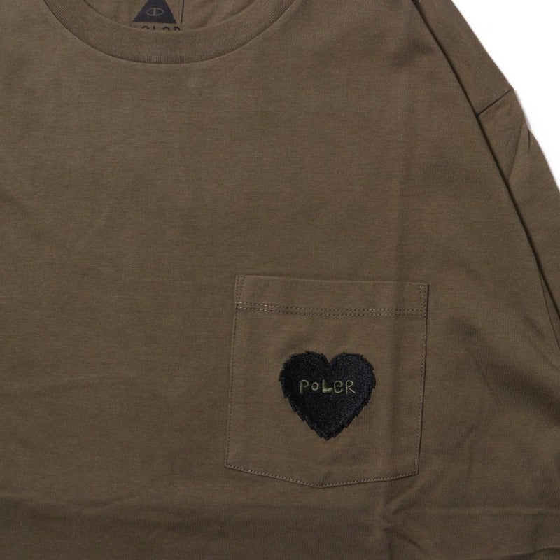 Furry Heart Pocket Long Sleeve Tee-Olive