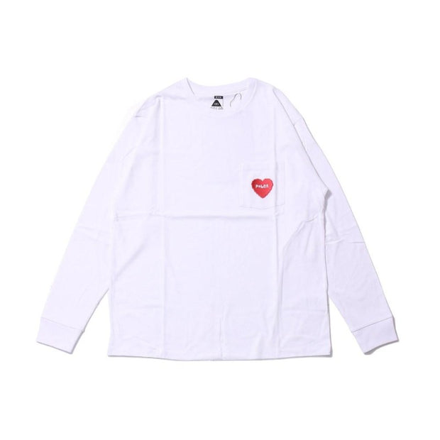 Furry Heart Pocket Long Sleeve Tee-White
