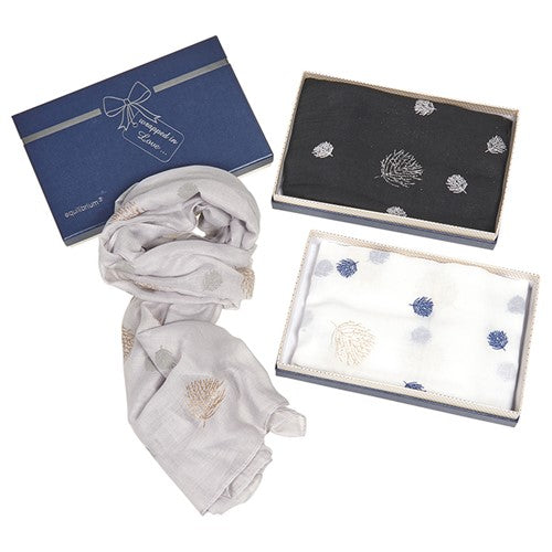 Glitter leaves boxed scarf