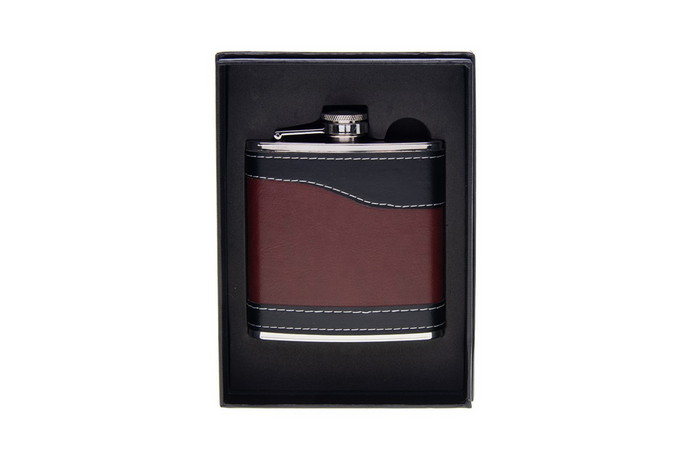 Black & tan hip flask 6oz
