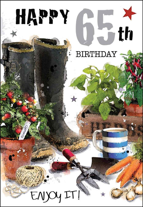 Happy 65th birthday garden card
