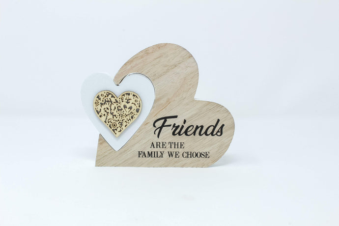 'Friends are the family we chose' wooden heart plaque