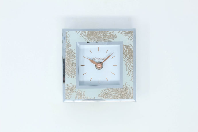 Rose gold feather mirror clock