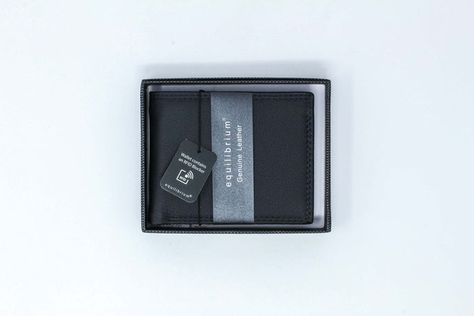 Leather RFID wallet navy