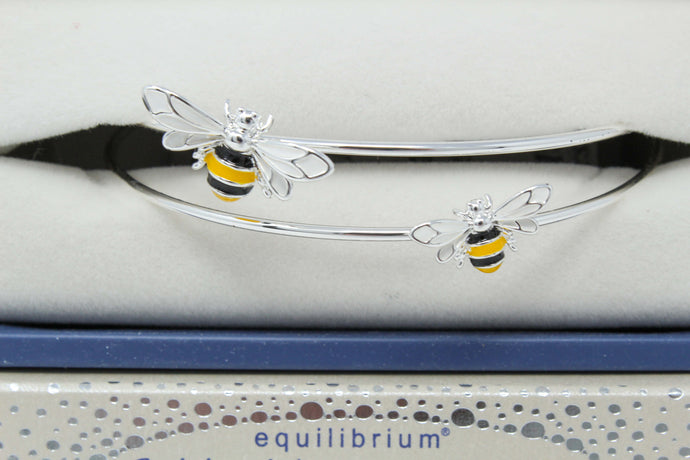 Hand-painted sparkle bee bangle