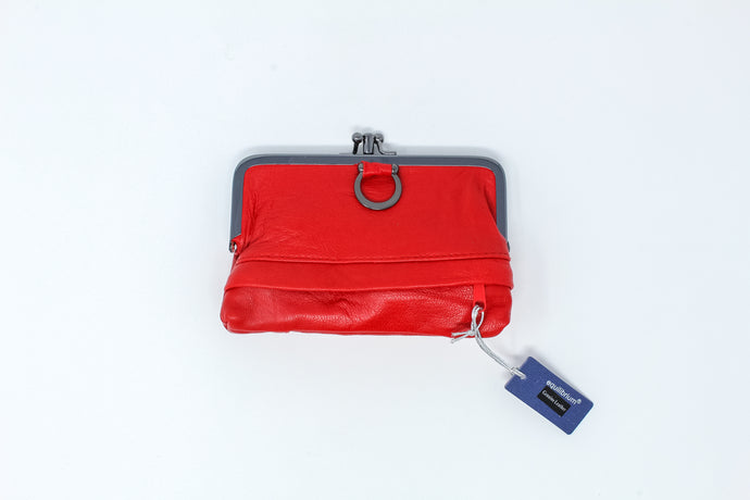 Red leather ring purse