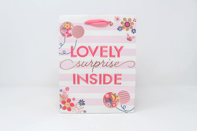 'Lovely surprise inside' floral stripe gift bag