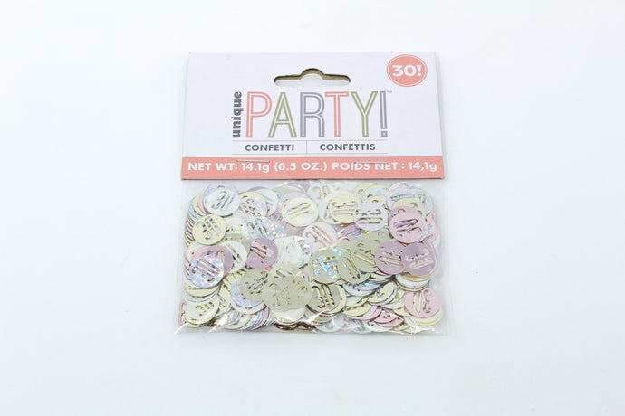 30 metallic multi-coloured confetti