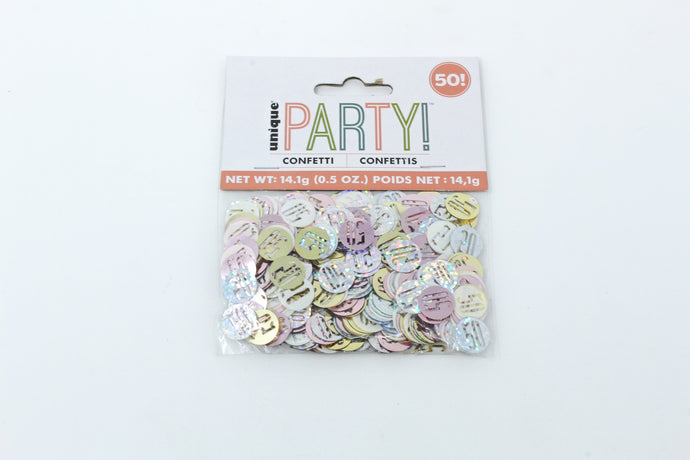 50 Multi-coloured metallic confetti