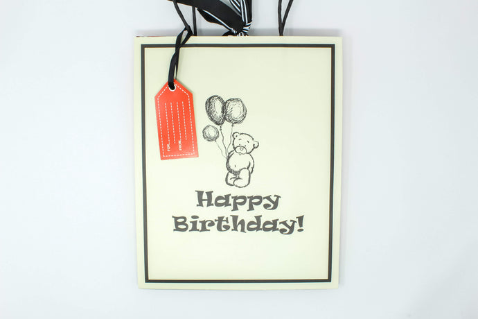 'Happy birthday' teddy bear gift bag