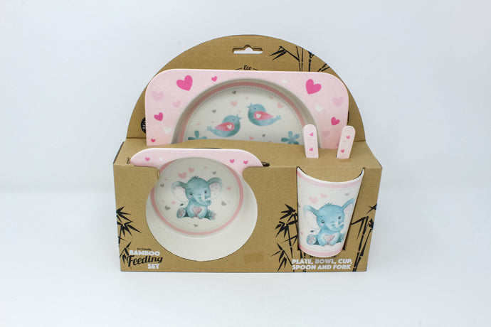 Bird & Ellie pink eco friendly feeding set