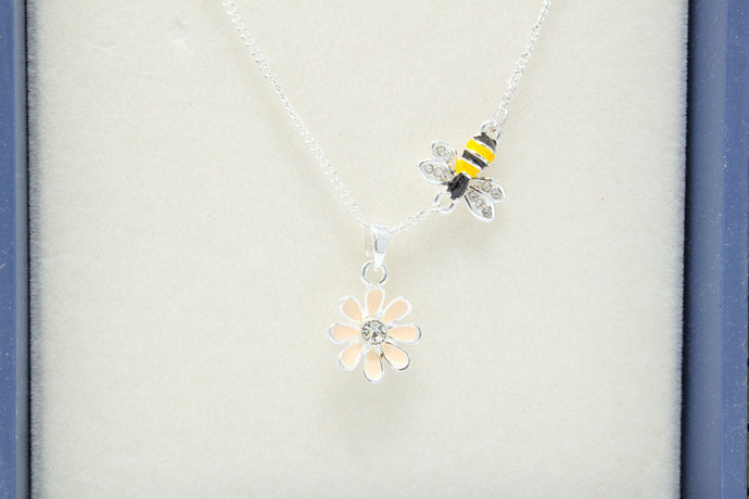 Hand-painted bee & flower necklace