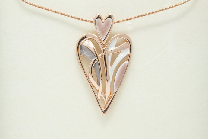 Large Rose Gold Heart Necklace