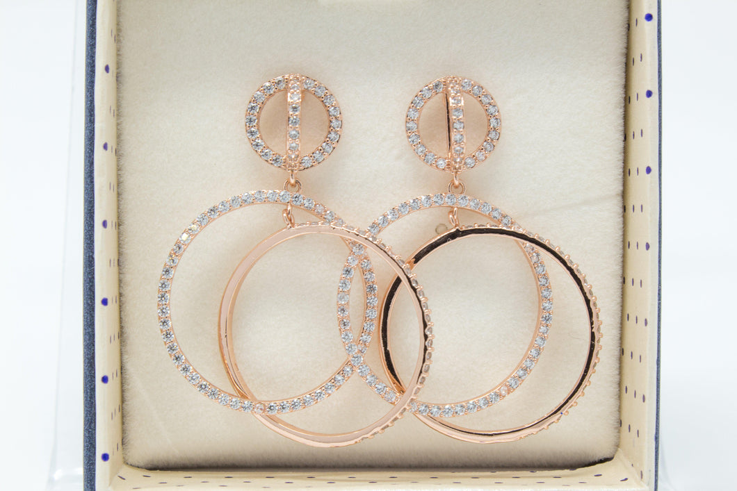 Double hooped rose gold earrings