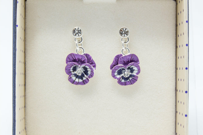 Violet pansy dangly earring's