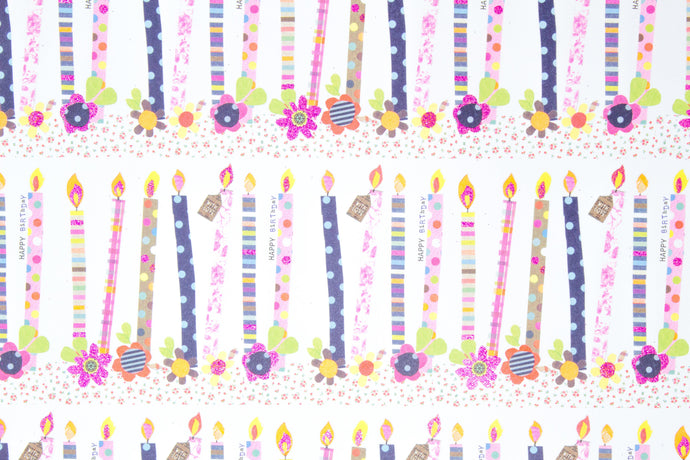Floral birthday candle wrapping paper