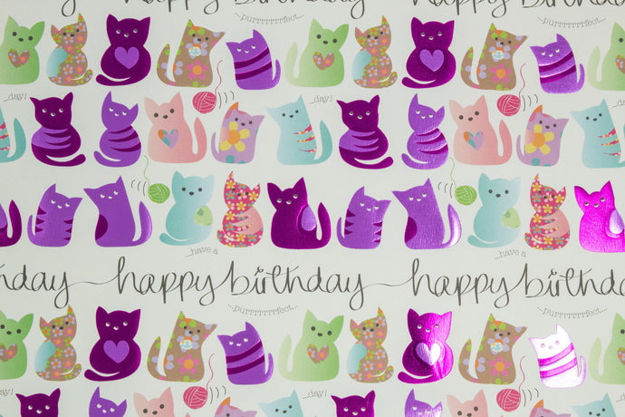 'Have a happy birthday' cat wrapping paper
