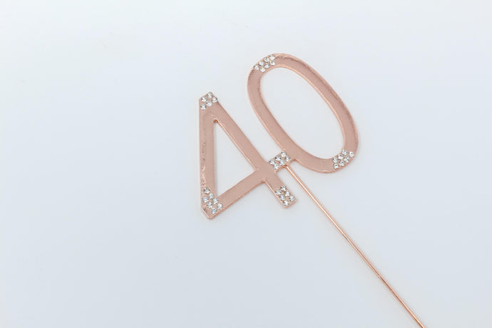 40th Rose gold cake topper
