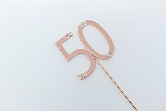 50th Rose gold cake topper