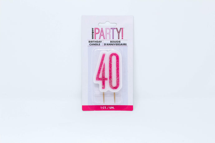 Pink 40 birthday cake candle