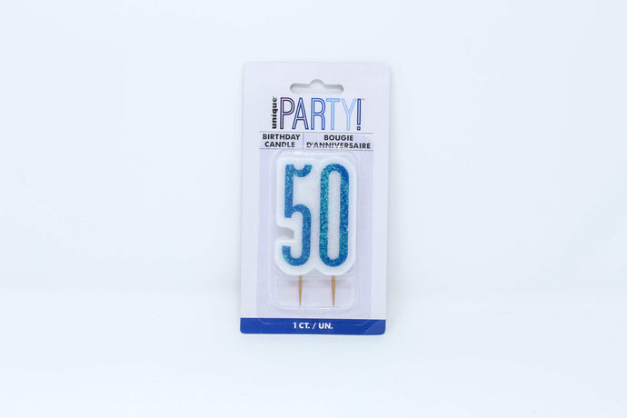 Blue 50th birthday cake candle