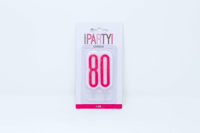 Pink 80th birthday cake candle