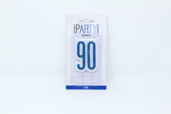 Blue 90th birthday cake candle