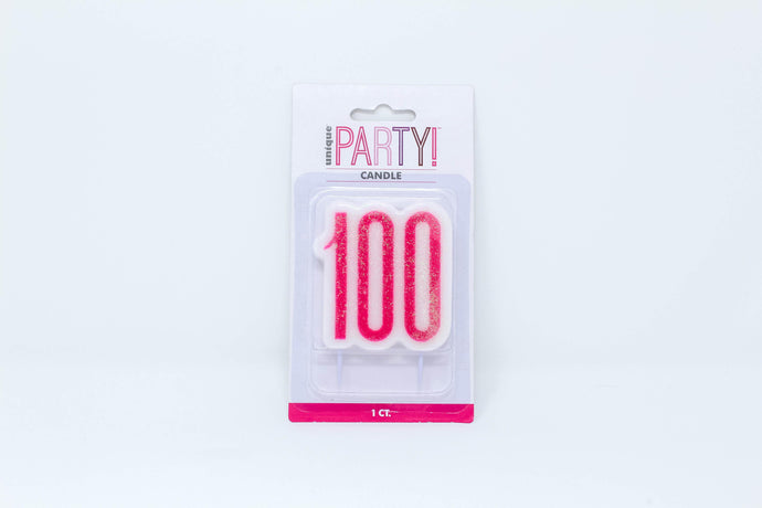 Pink 100 birthday cake candle