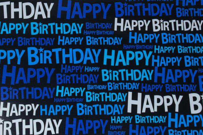 Blue shades 'Happy birthday' wrapping paper